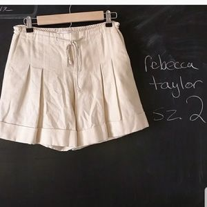Rebecca Taylor Pleated Ivory Shorts Sz 2